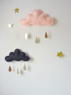 Spring Whimsical rain Cloud Mobile for nursery www. Peach Nursery, Girl Nursery, Nursery Decor, Clouds Nursery, Baby Room Wall Decor, Scandinavian Kids, Cloud Mobile, Felt Mobile, Decor Inspiration