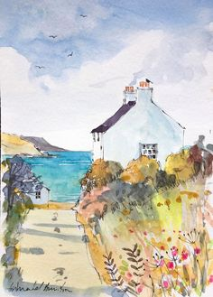 Signed Original Watercolour -Sea View Cottage - by Annabel Burton Watercolor Sketchbook, Watercolor Painting Techniques, Watercolor Landscape Paintings, Pen And Watercolor, Watercolour Painting, Art Tutor, Art Impressions, Small Paintings, Watercolours