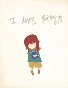 Digital Print - Childs Room Art Print - 8x10 Illustration Art Print - Little Bookworm - Books, Geekery, Cute, Gift, Librarians