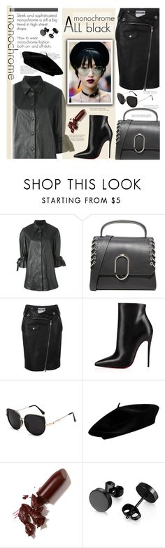 """""""Monochrome All Black (2)"""" by sara-cdth ❤ liked on Polyvore featuring Drome, 3.1 Phillip Lim, Moschino, Christian Louboutin and LAQA & Co."""