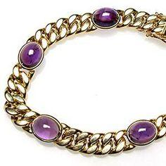 Estate Natural Amethyst Gemstone Link Chain Bracelet Solid 14K Gold - EraGem