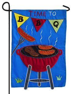 Time to BBQ Applique Garden Flag