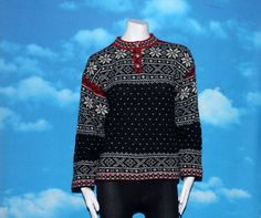 L.L. Bean Nordic Snowflake Wool Made in USA Medium Sweater Vintage by nodemo