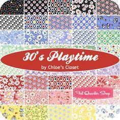 I love 30s Reproduction fabric ::  30's Playtime Layer Cake Chloe's Closet for Moda Fabrics - Fat Quarter Shop