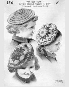 French Fair Isle Beret Kids Knitting Patterns, Knitting For Kids, Baby Knitting, Crochet Patterns, Free Knitting, Stitch Patterns, Fair Isle Pattern, Fair Isle Knitting, Vintage Knitting