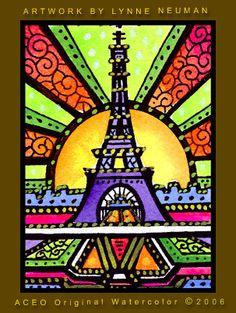 ACEO Print Eiffel Tower Paris 430 Lynne Neuman EBSQ | eBay