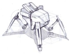 Sketch of a robotic insect by designer Spencer Nugent - done with a zebra ballpoint pen Sketch A Day, Hand Sketch, Cool Sketches, Drawing Sketches, Sketching, Robot Sketch, Weird Drawings, Robot Cartoon, Arte Cyberpunk