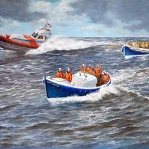 Drie generaties Noordwijkse reddingboten...  Schilderij van Rob van Assen #realisme #scheepsportret #fijnschilderkunst