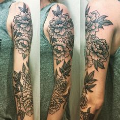 Blackwork Peony Floral Sleeve by Kyle Grover : Tattoos