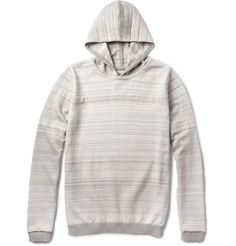 S.N.S. Herning  Iteration Jacquard Cotton and Wool-Blend Hooded Sweater. Mr Soren Nielsen Skyt was just 21 when he founded his eponymous label in Herning, Denmark, in 1931. The young entrepreneur's attention to detail and construction served him well, and is still apparent in every piece the mill produces to this day. Crafted using a unique jacquard-strapping technique, this cotton and wool-blend hooded sweater is a smart choice for low-key days.