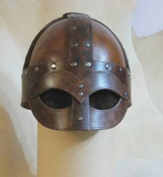 leather viking helmet - never seen this type before not sure if it is an authentic copy or fantasy but I like!