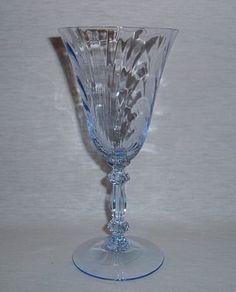 Cambridge Caprice Moonlight Blue depression glassware.