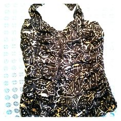 INC SILK HALTER TOP Black and Gold and ruched all over. Sounds adorable, but wait till you see it in person...well, in fabric. Inside front is lined and has soft boning. Black buttons run down the center and the back is all elastic stittched. INC International Concepts Tops Blouses