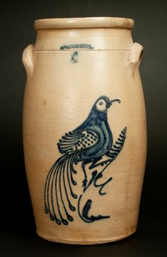 Lot 441. WHITES UTICA 6 Gal. Stoneware Churn with Large Bird on Branch Decoration -- March 1, 2014 Stoneware Auction by Crocker Farm, Inc.
