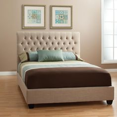 The natural look of the Chloe upholstered bed sets a mood that begs for total relaxation. Thick padding cushions a frame tightly upholstered in tan linen and has cappuccino finished tapered feet. The headboard has a slight curve making it perfect for relaxing against while reading in bed and the ...