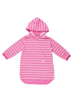 72f763a35d2c1 Pink And White Striped Long Hooded Towelling Top by Mitty James Kids  Beachwear