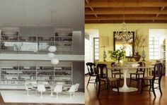 Saarinen table w/ traditional chairs (pic on the right)