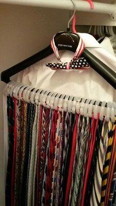 db0aa1c288e5 Hanging ties. Neckties. Storage. Just three packs of Walmart shower curtain  rings.