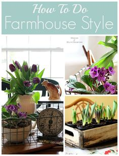 DIY tips on how to do a vintage farmhouse decorating style in your home.