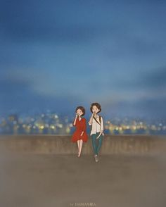 Image may contain: one or more people, sky and outdoor Love Cartoon Couple, Cute Love Cartoons, Anime Love Couple, Cute Couple Poses, Cute Couple Art, Love Background Images, Love Backgrounds, Art Drawings For Kids, Cute Drawings