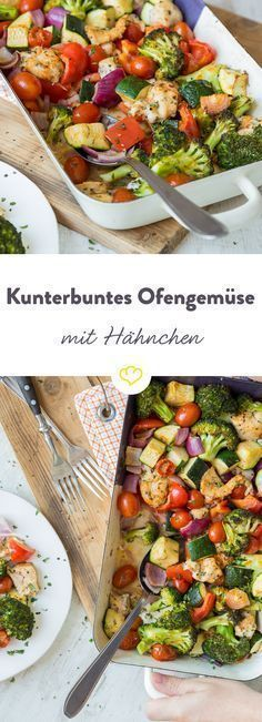 In nur 20 Minuten fertig: Buntes Ofengemüse mit Hähnchen Because of self-cooking costs time and nerves! This recipe is easy to prepare, ready after 20 minutes and tastes so delicious that even gourmet Healthy Chicken Recipes, Low Carb Recipes, Cooking Recipes, Free Recipes, Easy Recipes, Roasted Vegetables With Chicken, Clean Eating, Healthy Eating, Healthy Foods