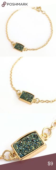 "Genuine druzy bezel bracelet Natural beauty meets a chic and modern design in this golden stunner!  Genuine agate druzy crystals sparkle in a darling bracelet ideal for stacking and perfect on its own!  Nickel and lead free.  About 7"" long.   PRICE IS FIRM and extremely reasonable, but click ""add to bundle"" to save 10% on your purchase of 2+ items today! Jewelry Bracelets"