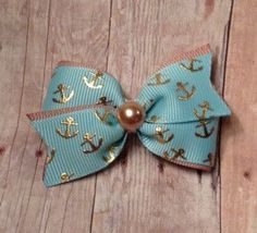 Anchor hair bow, Gold and aqua hair bow, dog hair bow, Nautical bow, dog bows, small hair bow. baby hair bow, toddler hair clip, summer bow by CreateAlley on Etsy