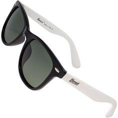 9d3de5c24 Rivacci Men Women Wayfarer Black White Frame G15 Green Gray Lens Classic  Retro Polarized Sunglasses -