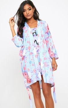 c75bc3b559 Bridesmaid Floral Blue Dressing Gown Pajama Party
