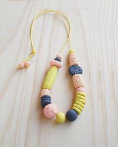 Handmade, Textured, Fancy Necklace - Almond, Blush, Concrete & Mustard on Etsy, $45.00 AUD
