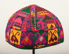 20.8''  Vintage AFGHAN HAT with mirrors  by SOrugsandtextiles