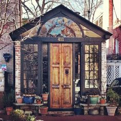 Possible protruding foyer idea? Greenhouse / sunroom with old door Beautiful Architecture, Beautiful Buildings, Cabins For Sale, Tiny Cabins, Greenhouse Shed, House Foundation, Backyard Studio, Passive Solar, Future House