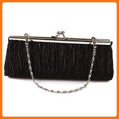 VWH Women's Evening Party Club Clutch Mini Handbag Wedding Bridal Purse Bag (Black) - Evening bags (*Amazon Partner-Link)