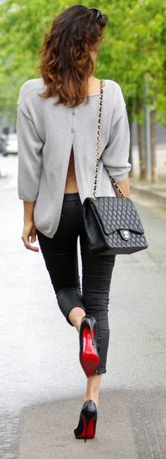 open back sweater : love the red soles!