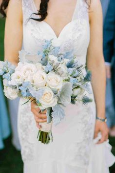 """Find your unique """"something blue"""" in this article! #weddings #wedding #tradition #somethingblue #bouquet Bridal Bouquet Blue, Flower Bouquet Wedding, Wedding Flower Arrangements, Wedding Centerpieces, Floral Arrangements, Wedding Decorations, Prom Flowers, Blue Wedding Flowers, Light Blue Flowers"""