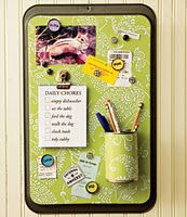 Magnetic Cookie Sheet Board for RV use decorated cans for pens/crayons/pencils  Link for this blog post:  http://create-share-inspire.blogspot.com/2011/07/cookie-sheet-magnetic-chalkboards.html