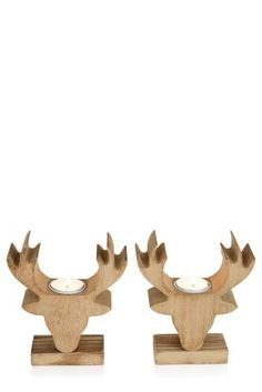 Buy Set Of 2 Wood Stag Tealights from the Next UK online shop