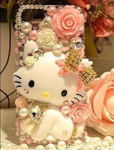 3D Cute Kitty Bling for DIY Cell Phone iPhone4 4S 5 5g Case Deco Den Kit Free SH | eBay