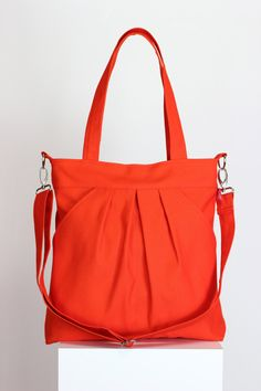 Orange Bag Large Bag Washable Two Large Pocket Zipper closed Canvas Purse…