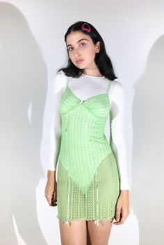 POISON APPLE || SHOP HERE: https://www.goodbyebread.com/collections/internet-girl/products/sour-candy-mini-dress #goodbyebread #internetgirl #photoshoot #vintage #sour #candy #poison #apple #mini #dress #transparent #light #green #bralette #top #elastic #straps #90s #patterns #white #details