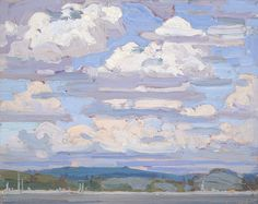 """huariqueje: """" Summer Clouds - Tom Thomson 1916 Canadian 1877-1917 Oil on board. 8 ¼ x 10 ¼ in. (21 x 26 cm). """""""