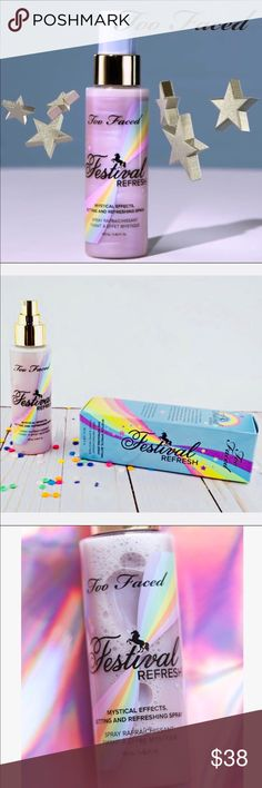 """🌈NEW AUTH Too Faced FESTIVAL REFRESH SPRAY 🌈Brand new, in original box. NEVER sprayed. Too Faced FESTIVAL REFRESH SPRAY from the """"Life's a Festival"""" Collection.   💜Guaranteed authentic as always. Direct from TF. From my smoke free home.   🌈ABOUT: This mystifying makeup setting and refreshing spray helps refines pores and improve skin texture 🔹Opalescent pearls create all over illumination 🔹Cooling formula refreshes skin 🔹Alcohol-free formula 🔹Infused with rose quartz for added love…"""