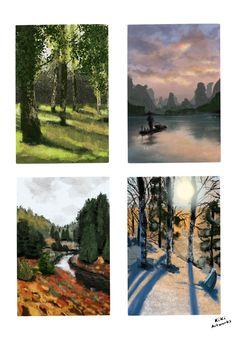 Landscape digital painting - light study Digitalni malba - Kristyna Hrdlickova  KiKi ArtWorks tvorba  Malba Sumava, zeleny les brizy, snih, voda
