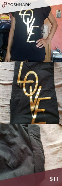 Forever 21 Love dripping spray paint shirt Gold Love lettering with dripping spray paint theme. Has cuff sleeves. Size s Forever 21 Tops