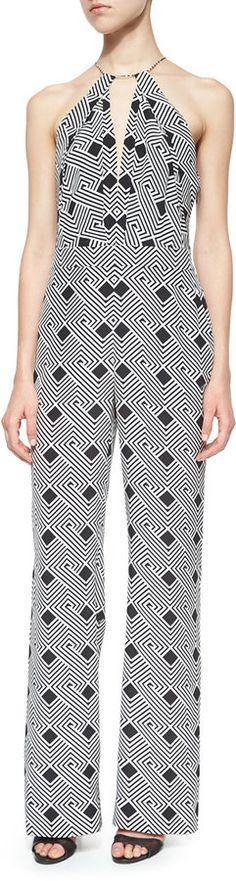 Diane von Furstenberg Irelan Geo-Stripe-Print Halter Jumpsuit