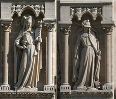 representations of the Church and the Synagogue - as representations of the Old and New Testaments, beautiful statuary on the Facade of Notre Dame of Paris.