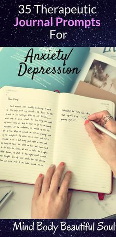 35 Therapeutic Journal Prompts For Anxiety/Depression. It was the day that I picked up a journal, just to have an emotional outlet, started changing things for me. It felt like my own therapy in a way. Anxiety Tips, Anxiety Help, Social Anxiety, Therapy For Anxiety, Health Anxiety, Anxiety Facts, Anxiety Quotes, Overcoming Anxiety, Writers