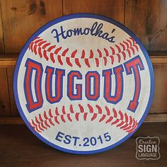 This customizable Baseball / Dugout round wood sign designed by Creative Sign Language is made to order. It is hand painted (NOT vinyl) on 1 thick pine wood and is available in 18 & 24 sizes. Signs have a wax finish to seal them. Backside is painted and saw tooth hanger is included (I generally do not attach in case you choose to display on an easel or lean against wall on mantle etc. but will attach if requested). No two signs are exactly the same as hand painted and wood varies. Pl...