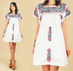 ViNtAgE 70's Floral OAXACAN Artisan Hand Embroidered Cotton Mini Mexican Dress by hellhoundvintage, $98.00