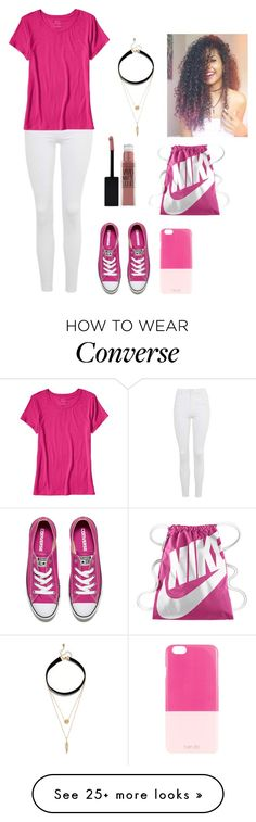 """""""Pink."""" by directioner-af-daily on Polyvore featuring Topshop, Banana Republic, Converse, NIKE, ban.do, Maybelline and LULUS"""